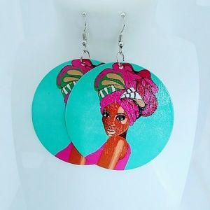 Headwrap wooden dangle Earrings